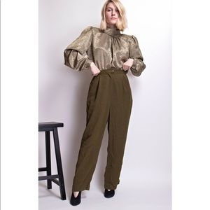 Vintage 80s army green silk trousers pants